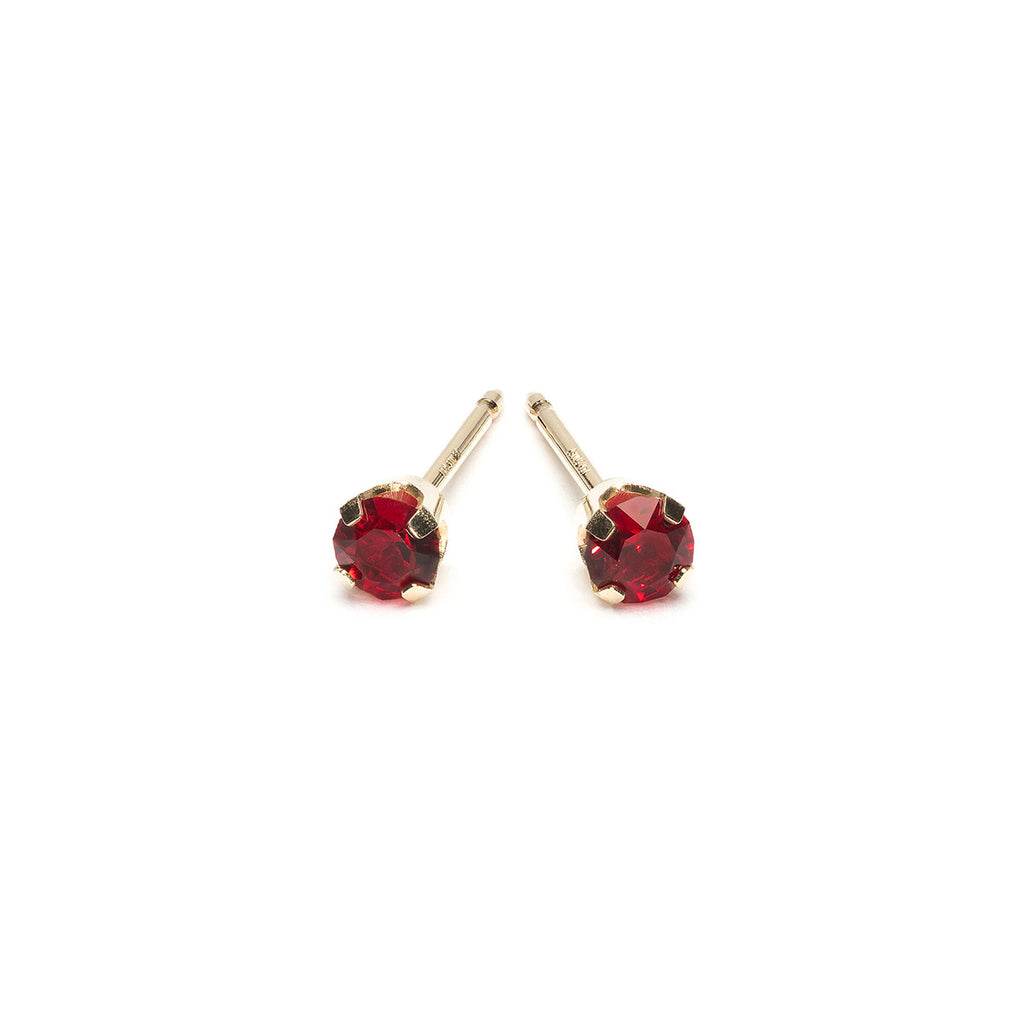 14k Gold 3 mm January Birthstone Stud Earrings - Simply Whispers