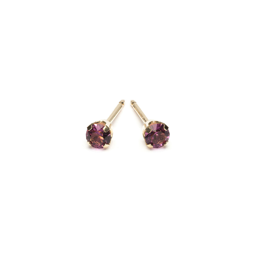 14 K Gold 3 mm February Birthstone Stud Earrings - Simply Whispers