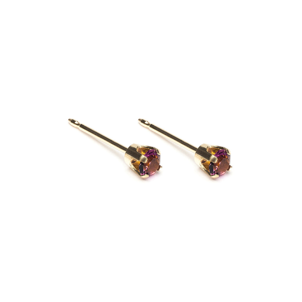 14k Gold 3 mm February Birthstone Stud Earrings - Simply Whispers