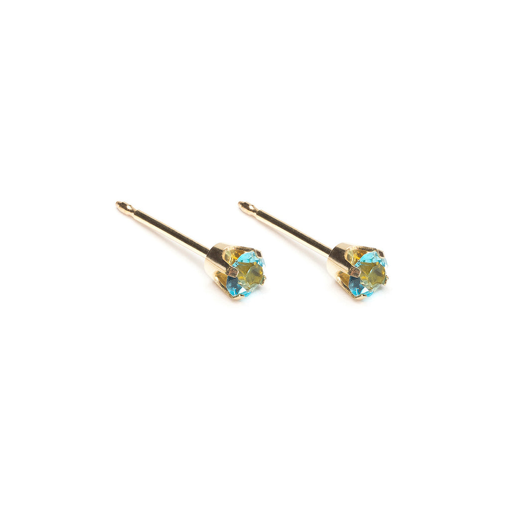 Gold Stud Earrings 3 mm March Birthstone - Simply Whispers
