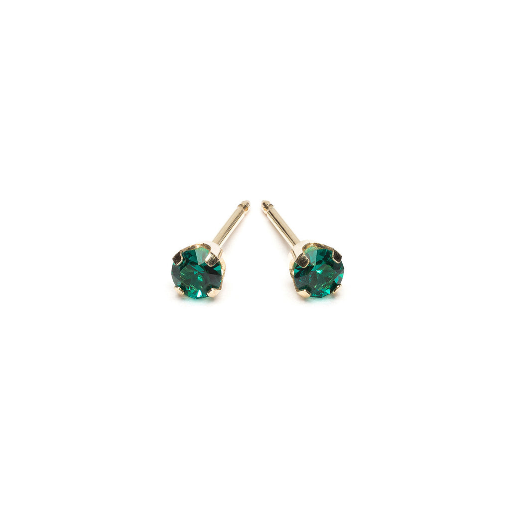 Gold Stud Earrings 3 mm May Birthstone - Simply Whispers