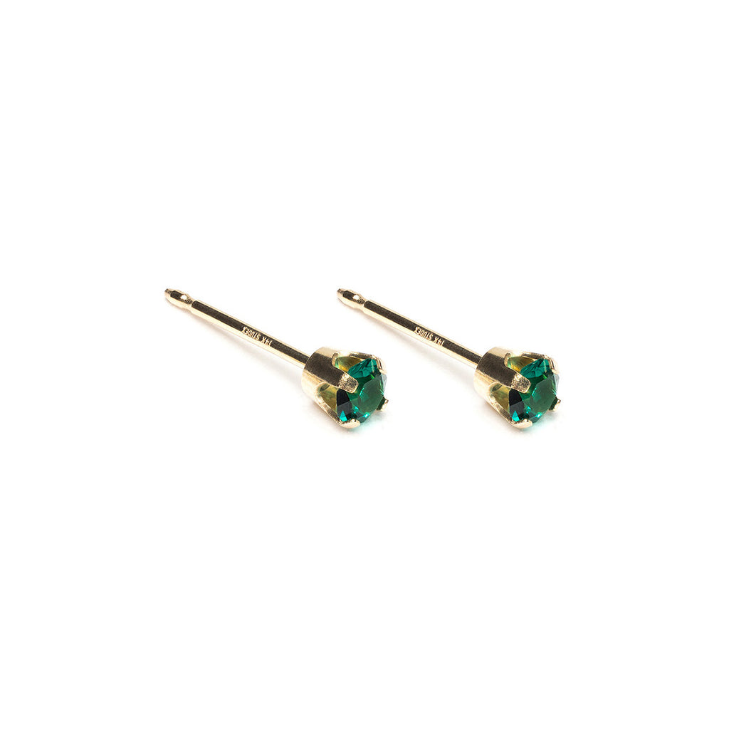 14k Gold 3 mm May Birthstone Stud Earrings - Simply Whispers
