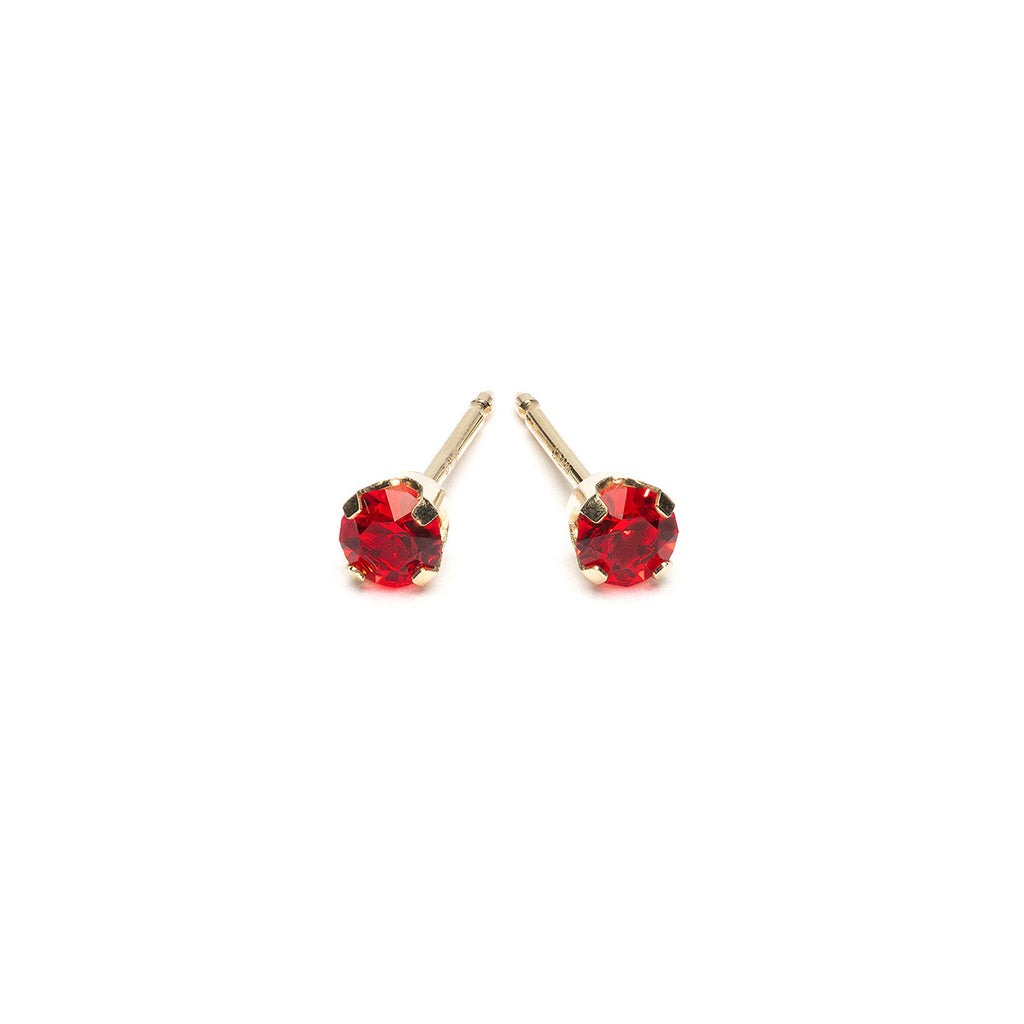 14k Gold 3 mm July Birthstone Stud Earrings - Simply Whispers