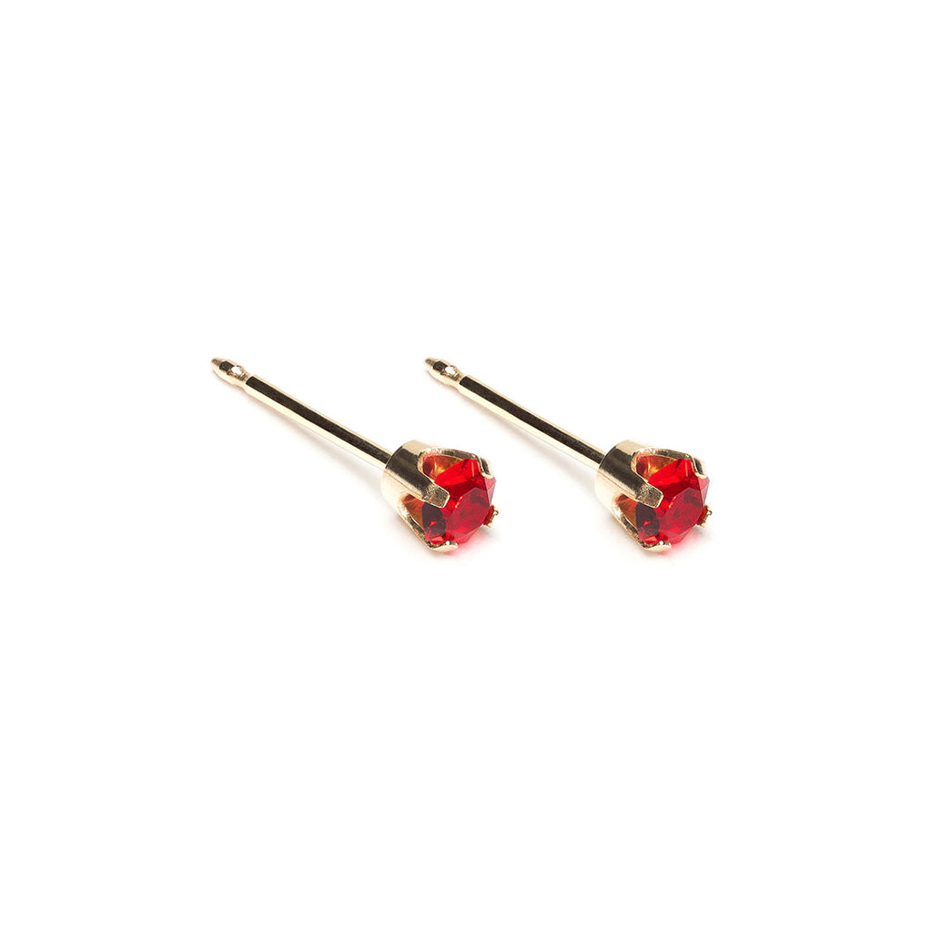 Gold Stud Earrings 3 mm July Birthstone - Simply Whispers