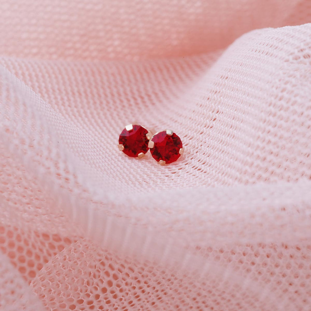 14k Gold July Birthstone Stud Earrings - Simply Whispers
