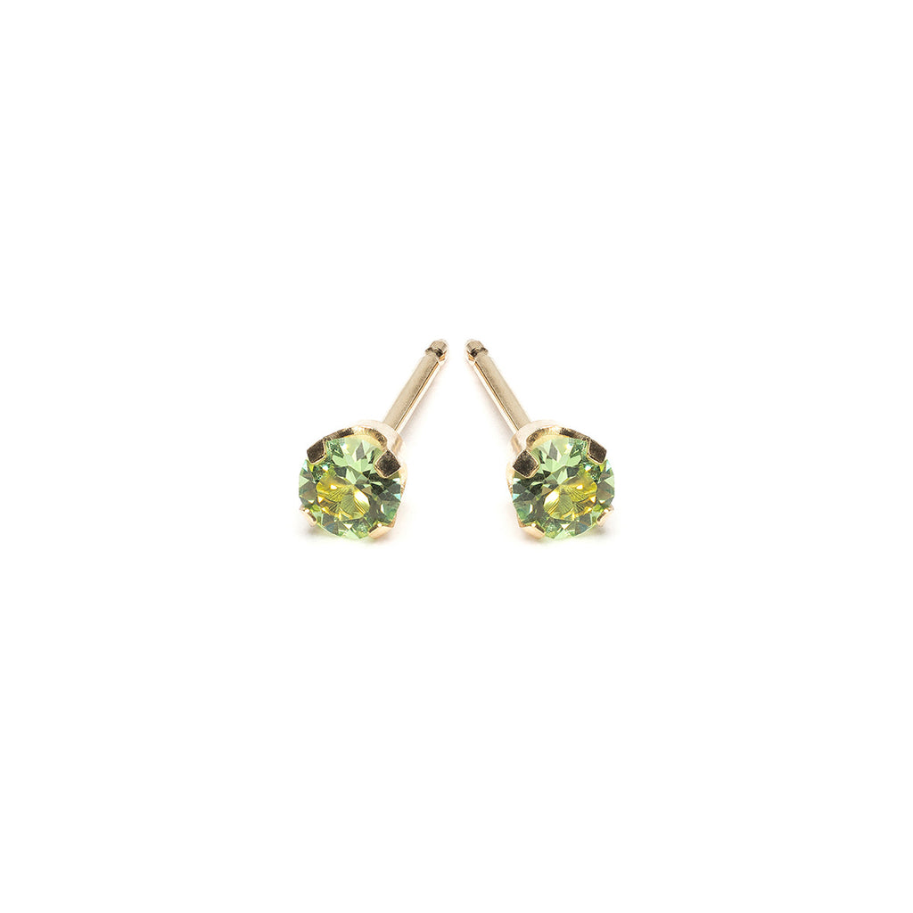 Gold Stud Earrings 3 mm August Birthstone - Simply Whispers