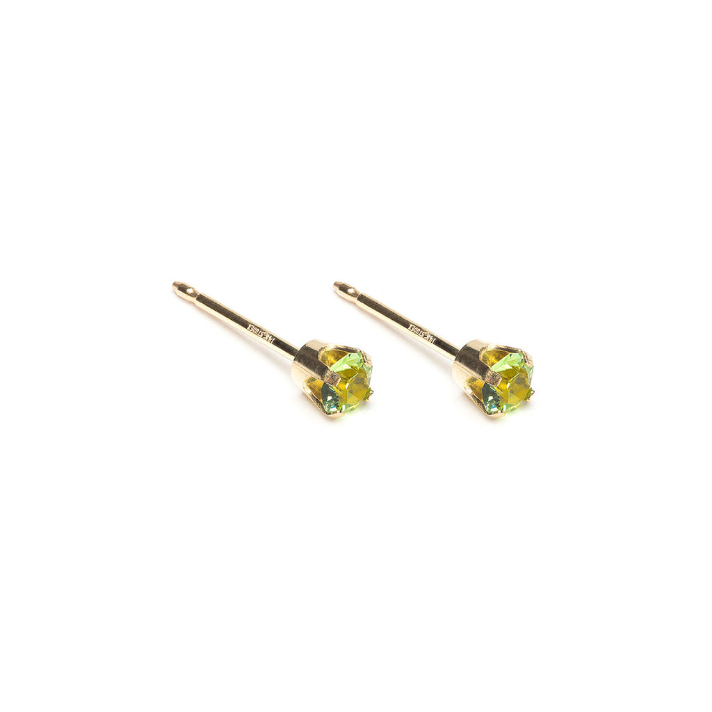 14 K Gold 3 mm August Birthstone Stud Earrings - Simply Whispers