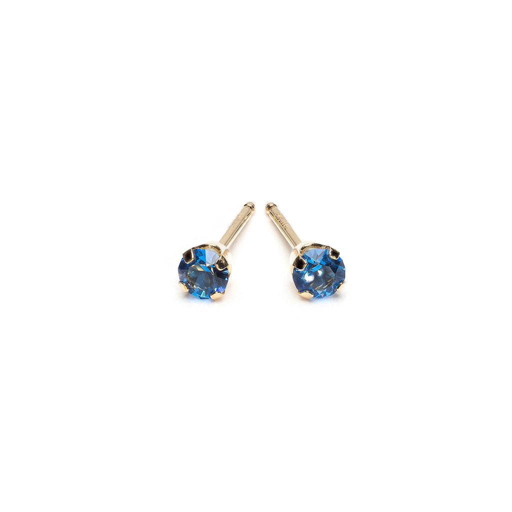 14k Gold 3 mm September Birthstone Stud Earrings - Simply Whispers