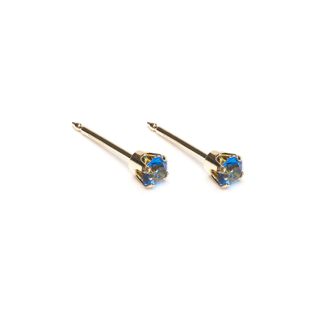 14 K Gold 3 mm September Birthstone Stud Earrings - Simply Whispers