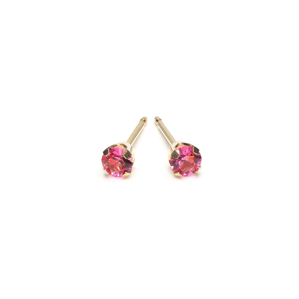 Gold Stud Earrings 3 mm October Birthstone - Simply Whispers