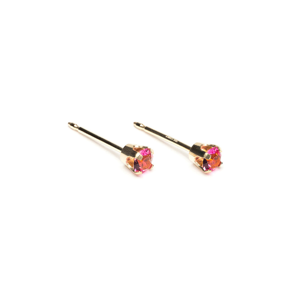14k Gold 3 mm October Birthstone Stud Earrings - Simply Whispers