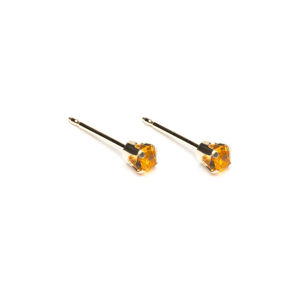 14 K Gold 3 mm November Birthstone Stud Earrings - Simply Whispers