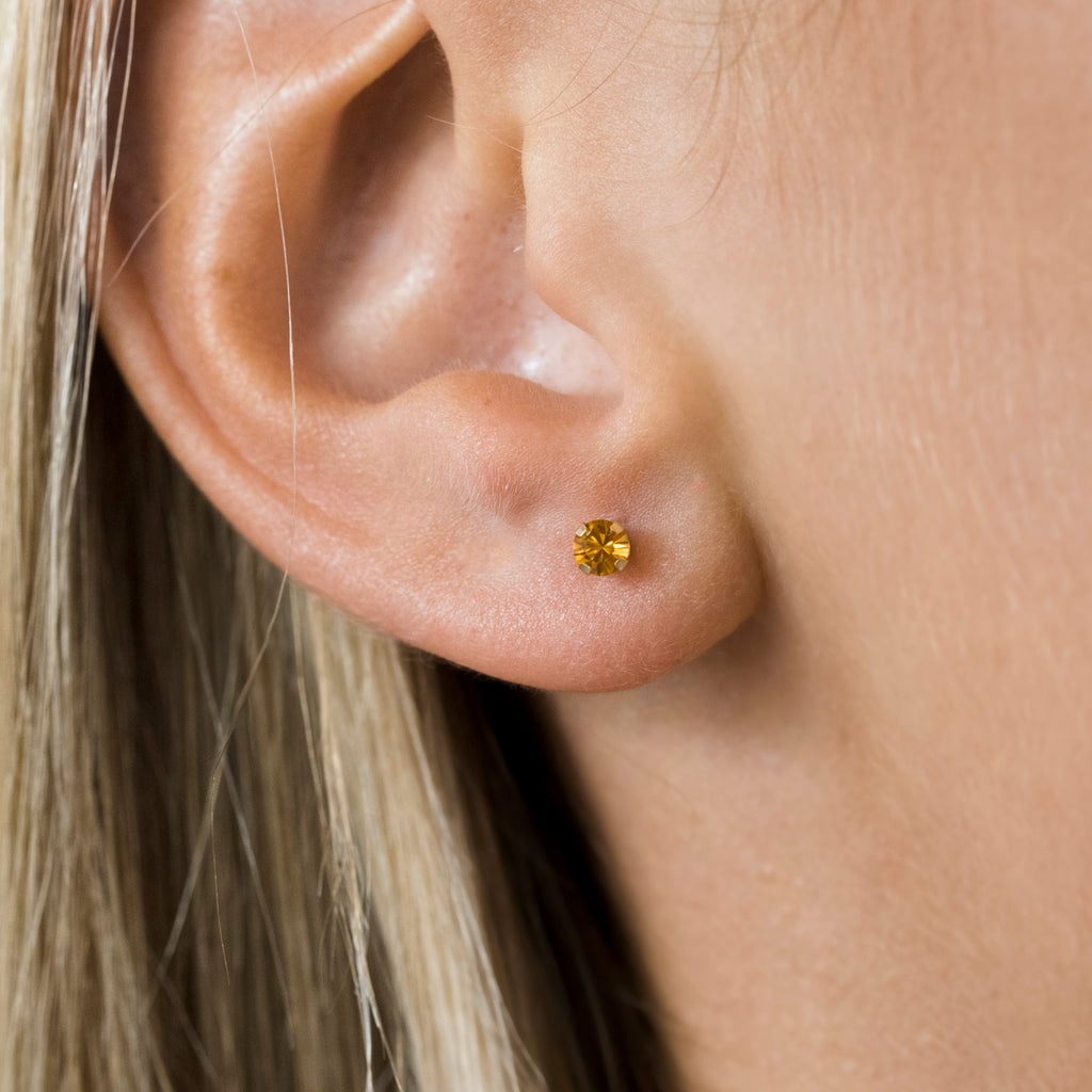 14k Gold 3 mm November Birthstone Stud Earrings - Simply Whispers