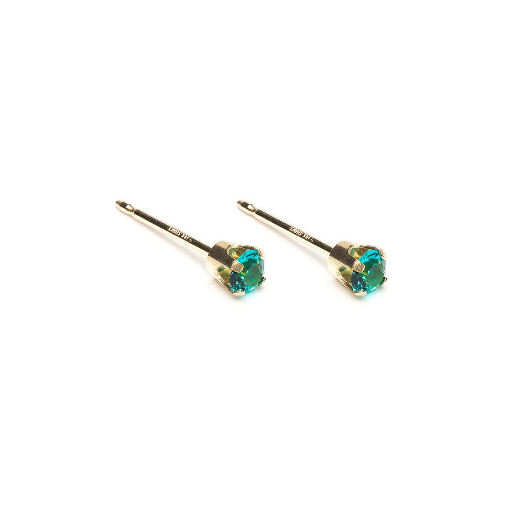 14k Gold 3 mm December Birthstone Stud Earrings - Simply Whispers