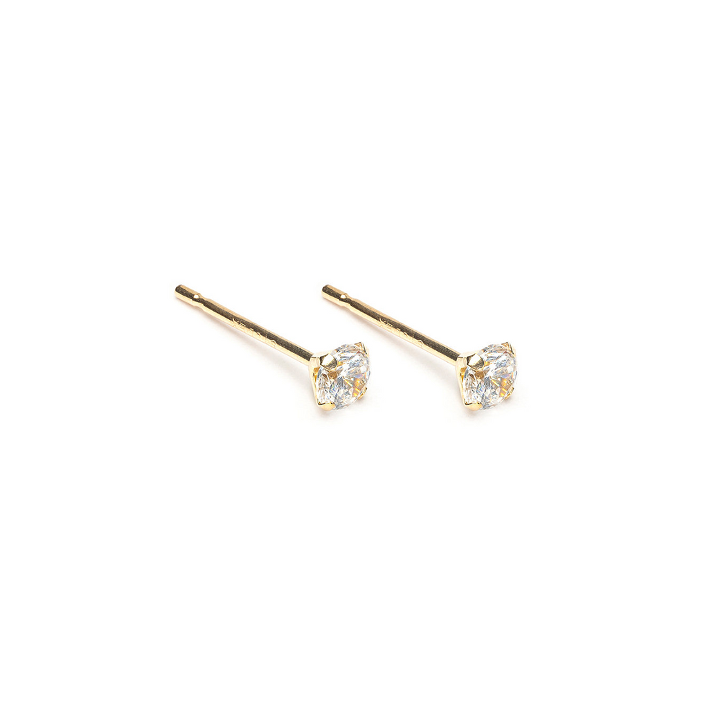 14 K Gold 3 mm Round Cubic Zirconia Stud Earrings - Simply Whispers