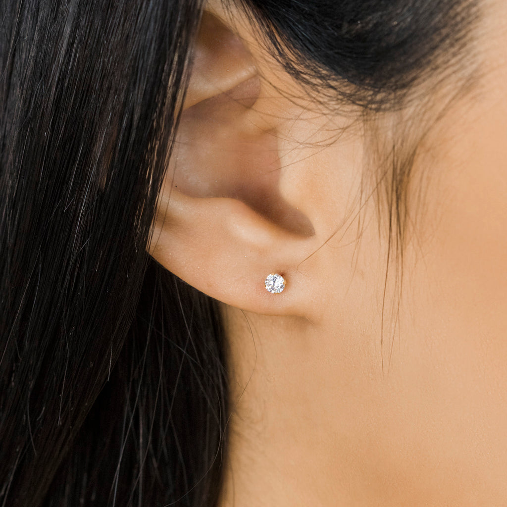 Gold Stud Earrings 3 mm Round Cubic Zirconia - Simply Whispers