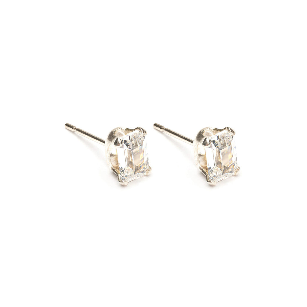 Sterling Silver 6 by 4 mm Emerald Cut Cubic Zirconia Stud Earrings - Simply Whispers