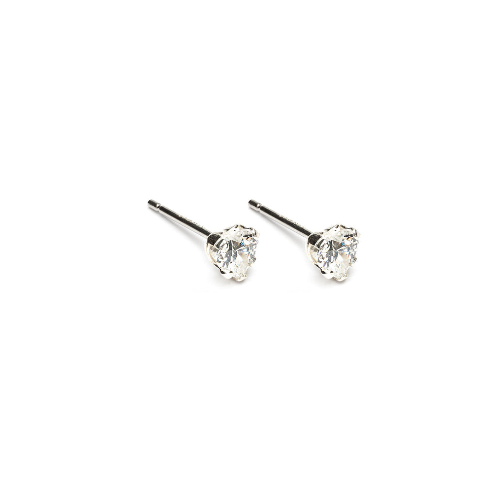 925 Sterling Silver 4 mm Heart Cubic Zirconia Stud Earrings - Simply Whispers