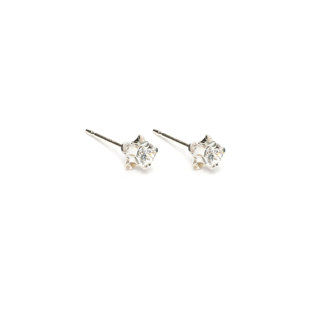Sterling Silver 3 mm Clover Cubic Zirconia Stud Earrings - Simply Whispers
