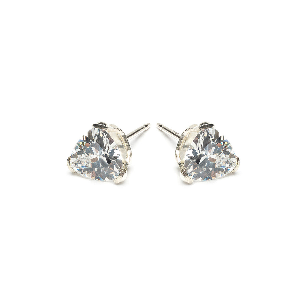 925 Sterling Silver 6 mm Triangle Cubic Zirconia Stud Earrings - Simply Whispers