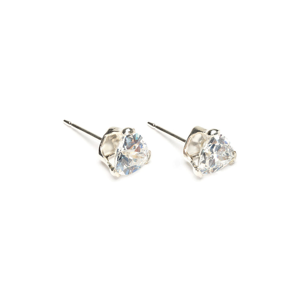 925 Sterling Silver 6 mm By 6 mm Triangle Cubic Zirconia Stud Earrings - Simply Whispers