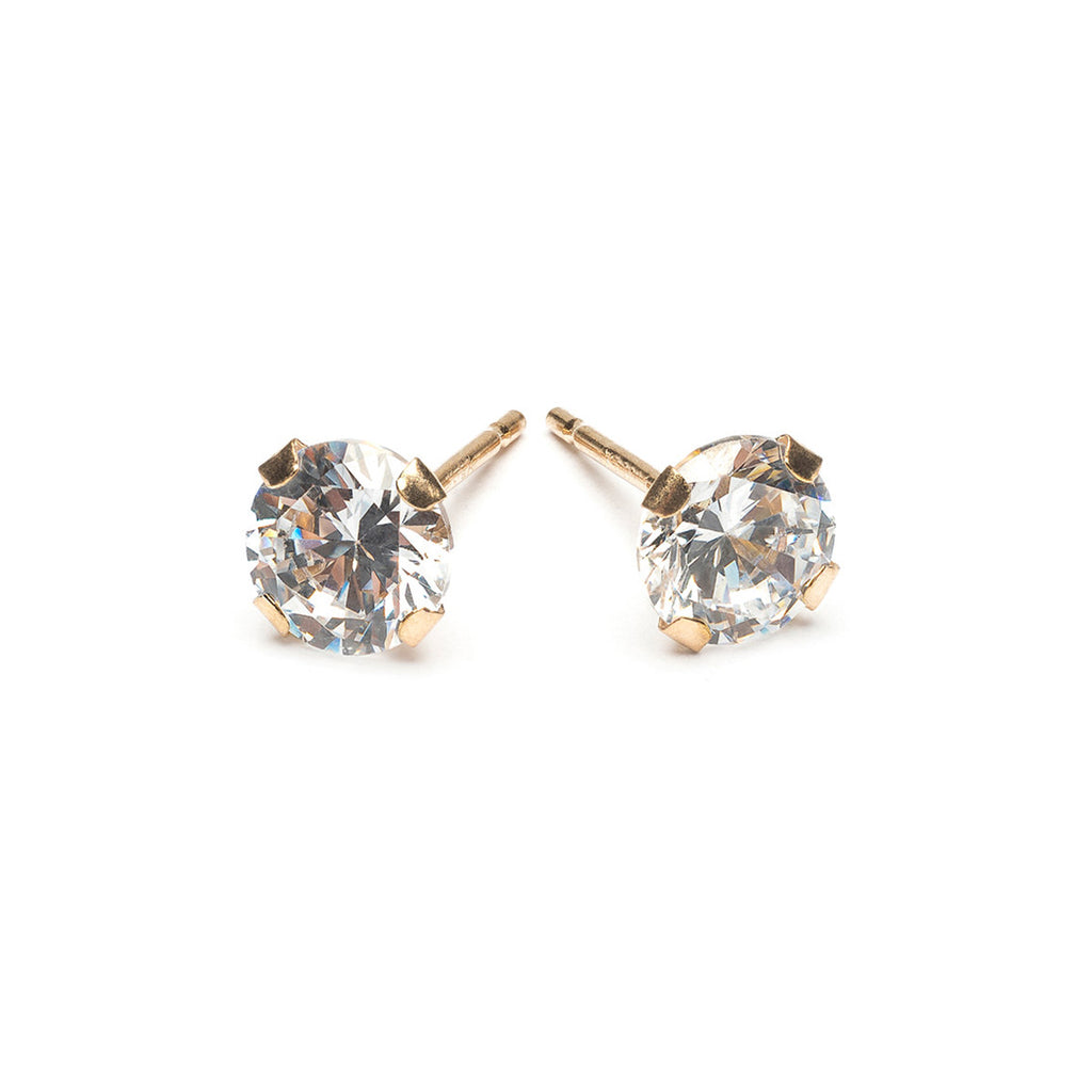 Gold Stud Earrings 5 mm Round Cubic Zirconia - Simply Whispers