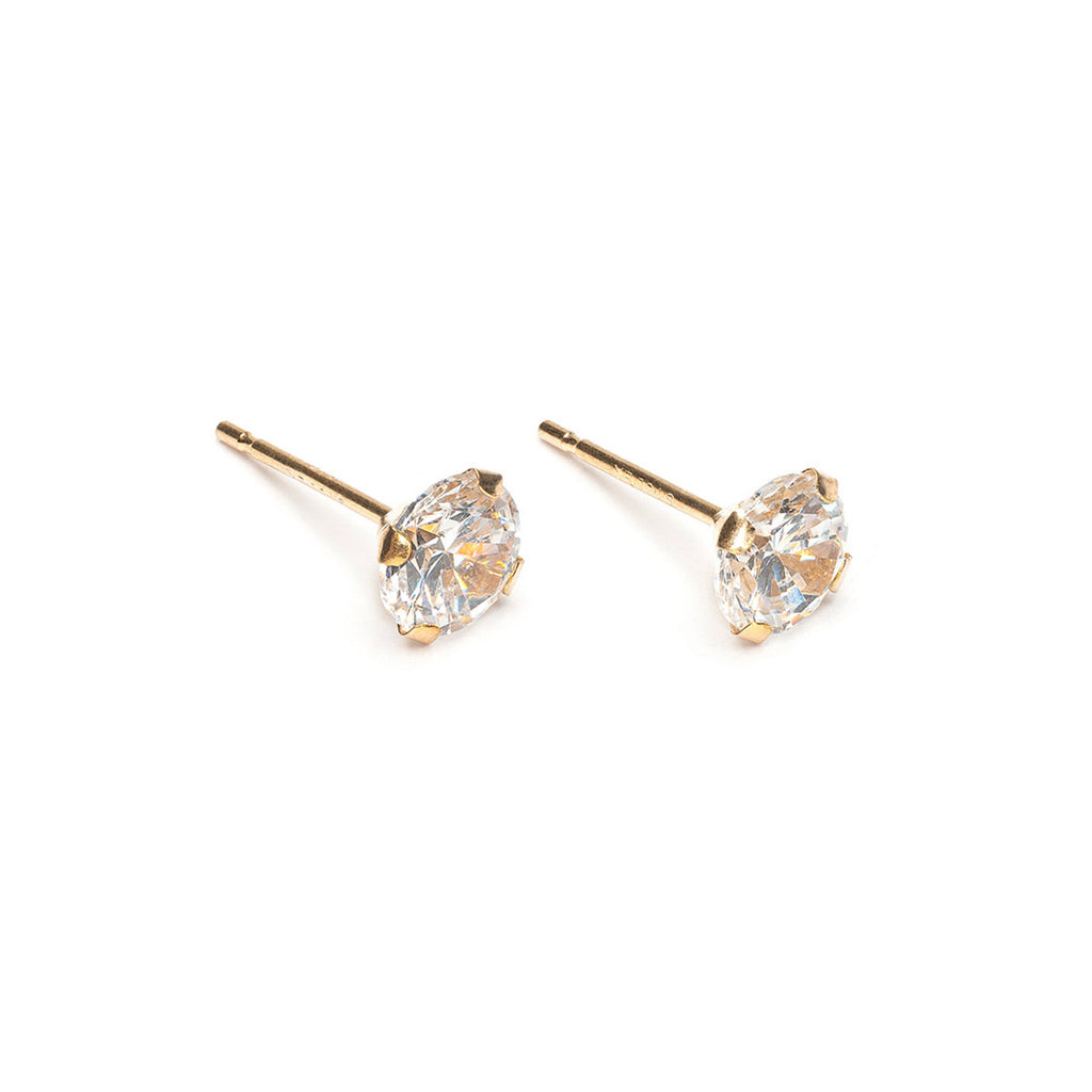 14k Gold 5 mm Round Cubic Zirconia Stud Earrings - Simply Whispers