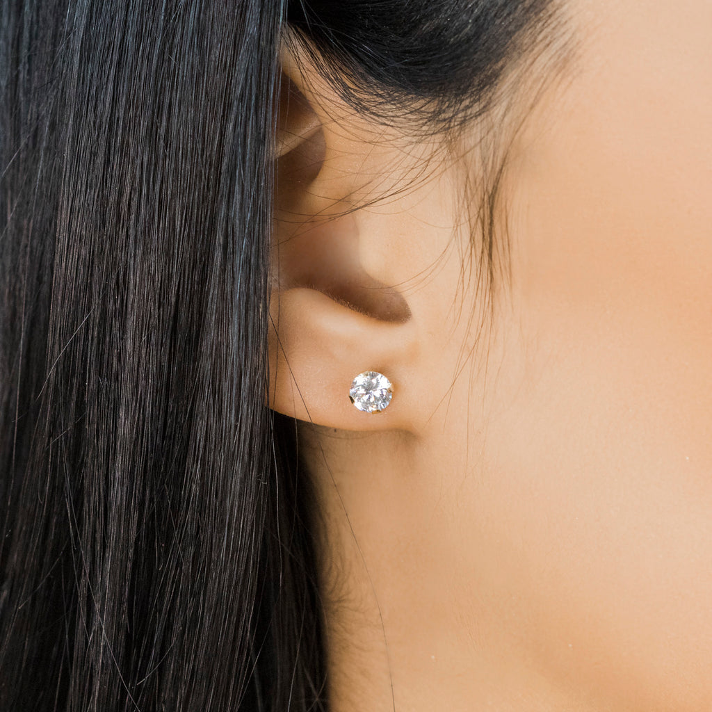 14 K Gold 5 mm Round Cubic Zirconia Stud Earrings - Simply Whispers