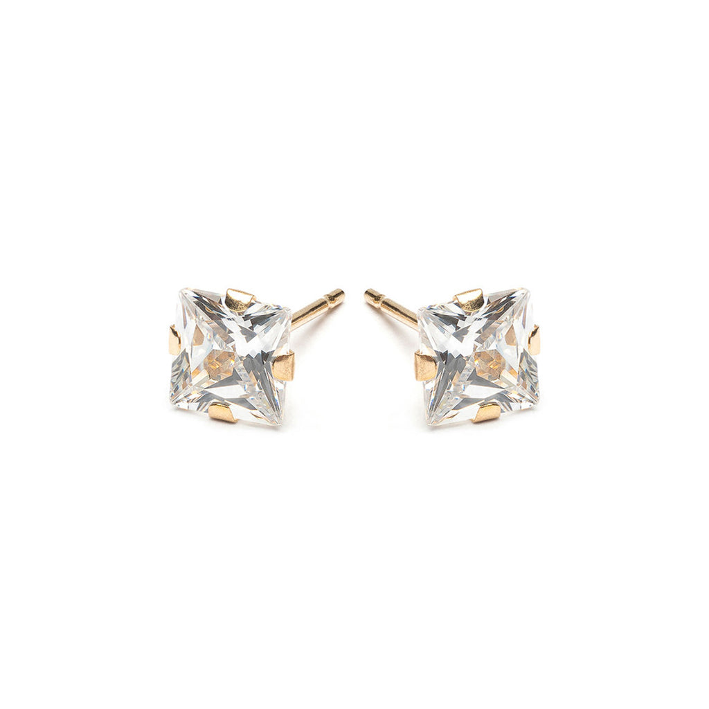 Gold Stud Earrings 5 mm Square Cubic Zirconia - Simply Whispers