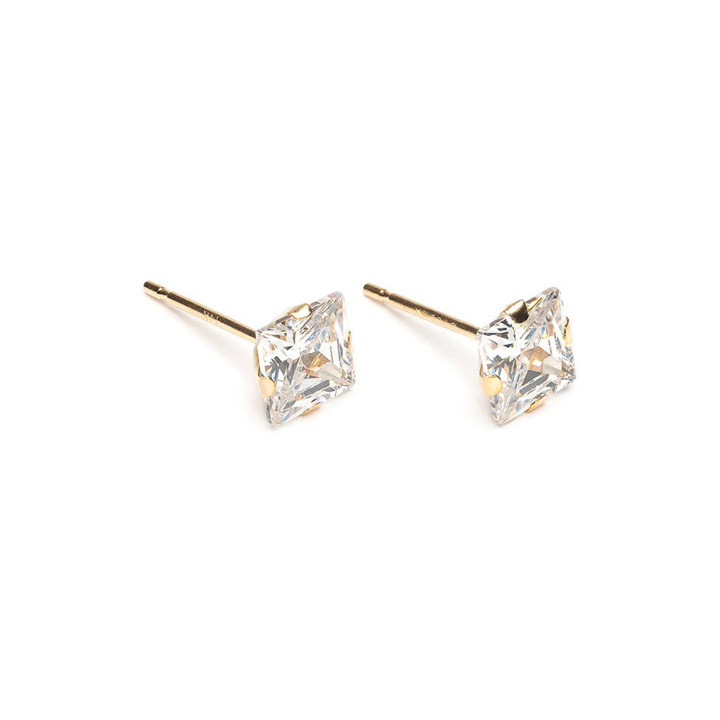 14 K Gold 5 mm Square Cubic Zirconia Stud Earrings - Simply Whispers