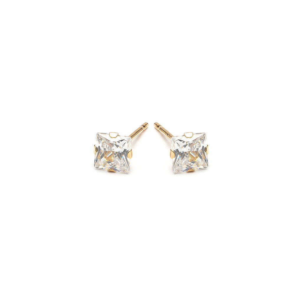 14k Gold 4 mm Square Cubic Zirconia Stud Earrings - Simply Whispers