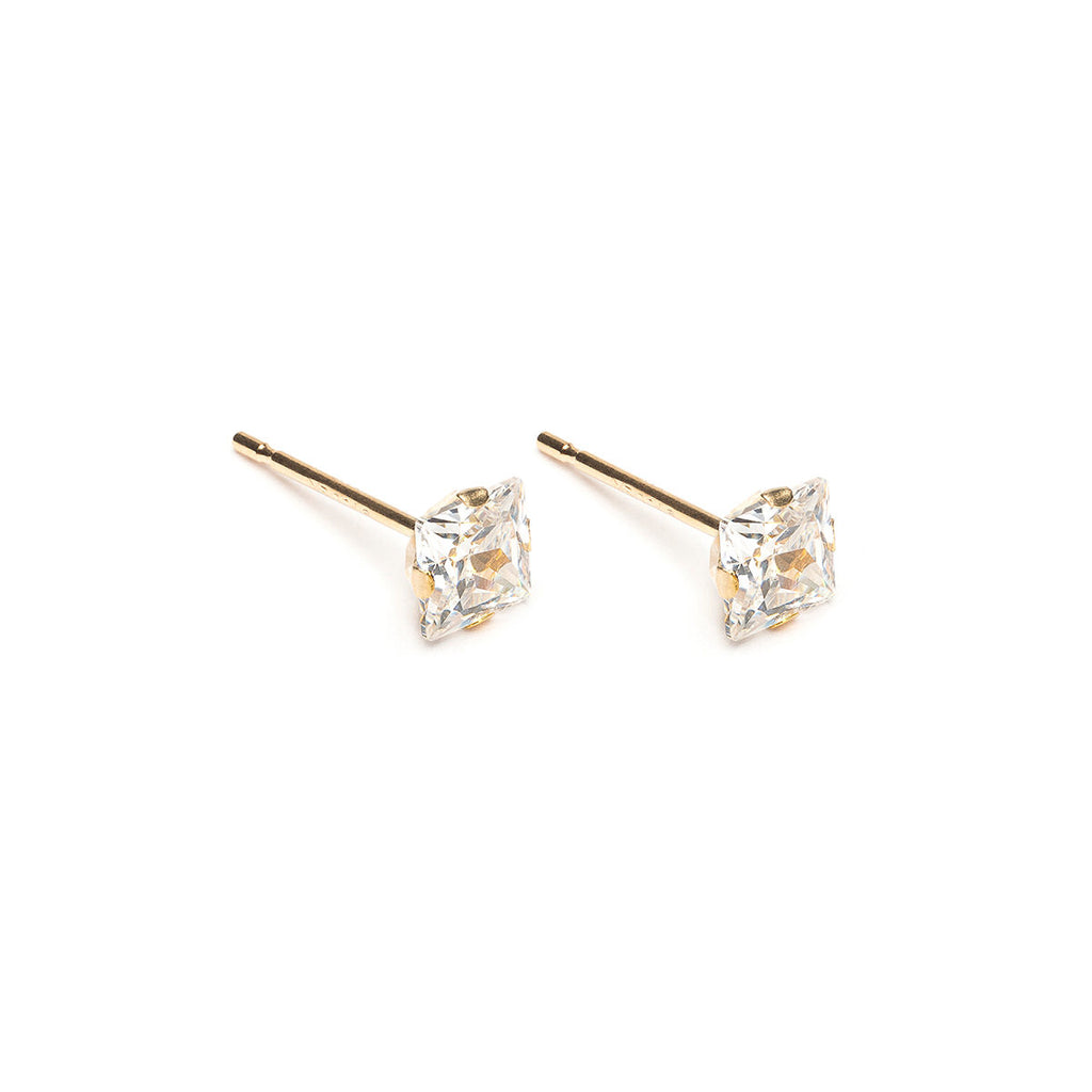 14 K Gold 4 mm Square Cubic Zirconia Stud Earrings - Simply Whispers