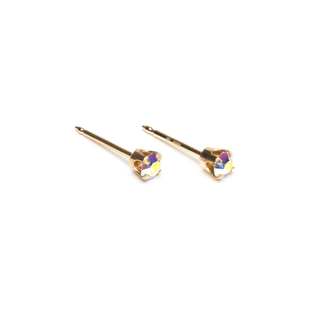 14 k Gold 3 mm Aurora Borealis Stud Earrings - Simply Whispers