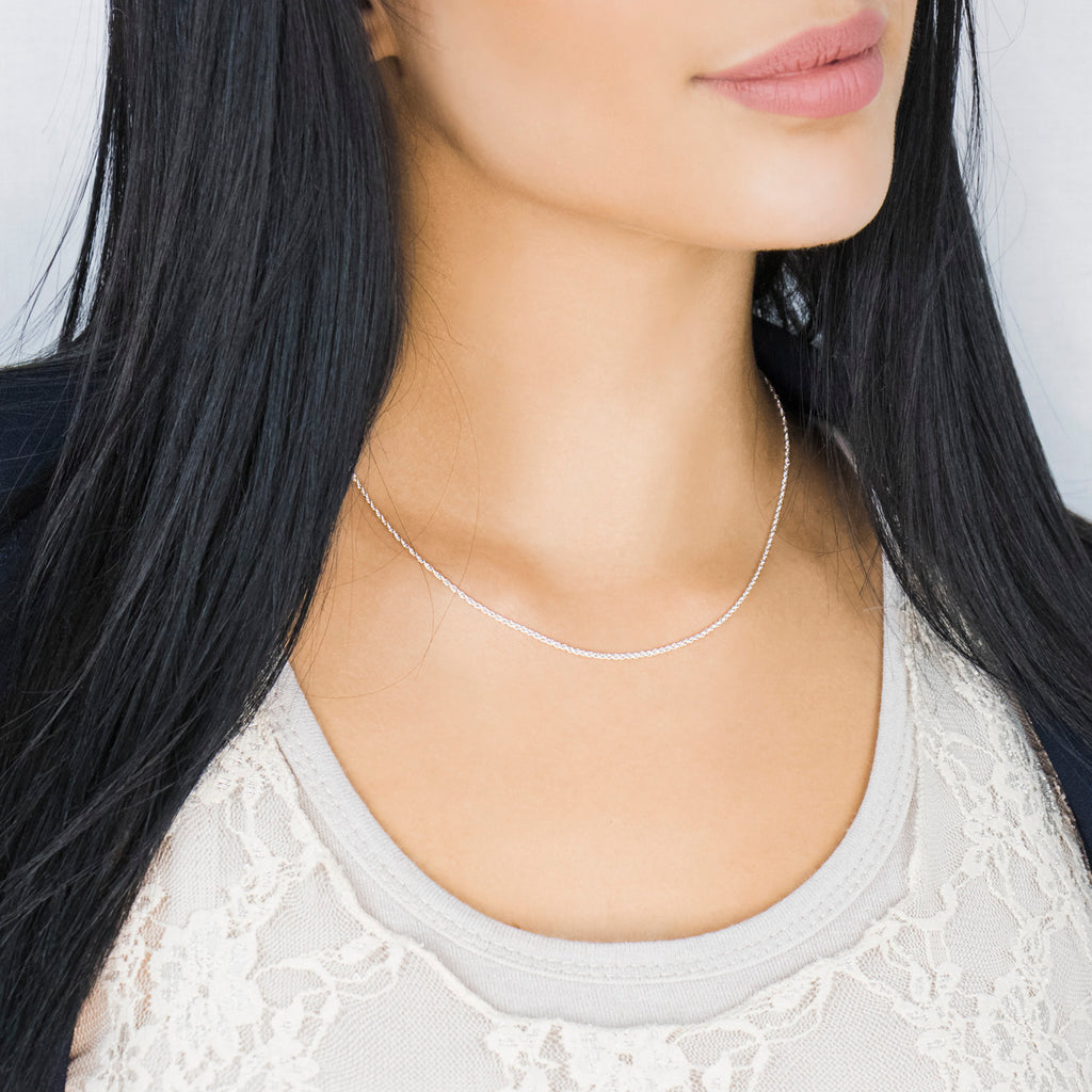 Sterling Silver 16 inch Rope Chain Necklace - Simply Whispers