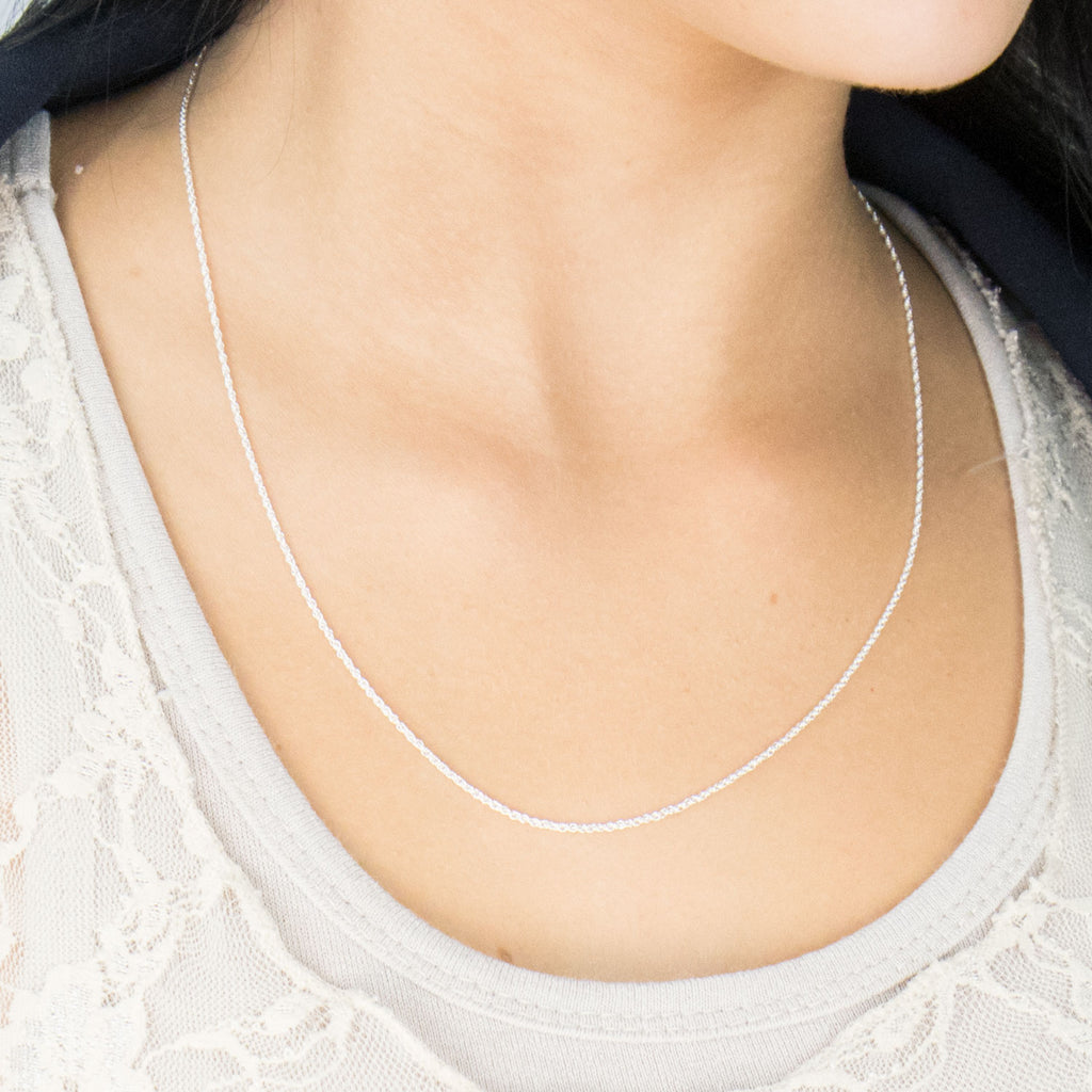 925 Sterling Silver 20 inch Rope Chain Necklace - Simply Whispers