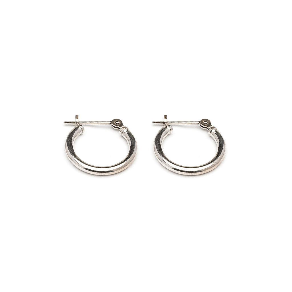 14 K White Gold 1/2 inch  Joint And Catch Hoop Earrings - Simply Whispers