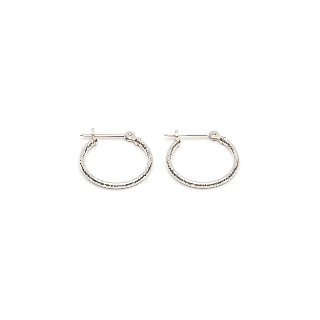 14k White Gold Diamond Cut Joint And Catch Hoop Earrings - Simply Whispers