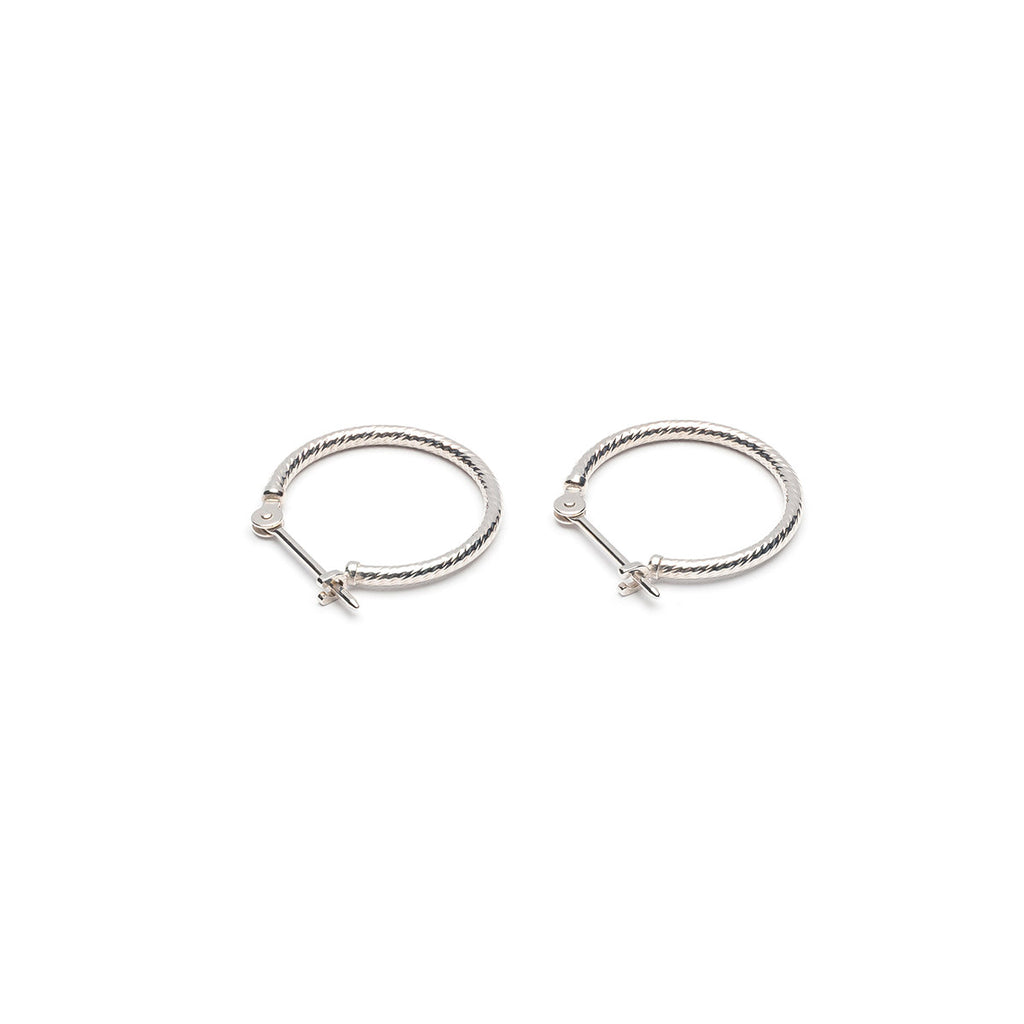 14 K White Gold Diamond Cut  .625 inch Joint And Catch Hoop Earrings - Simply Whispers