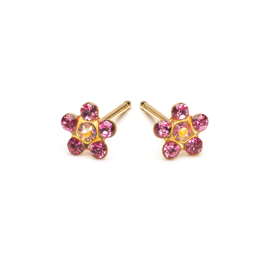 Gold Stud Earrings Aurora Borealis And Pink Daisy - Simply Whispers
