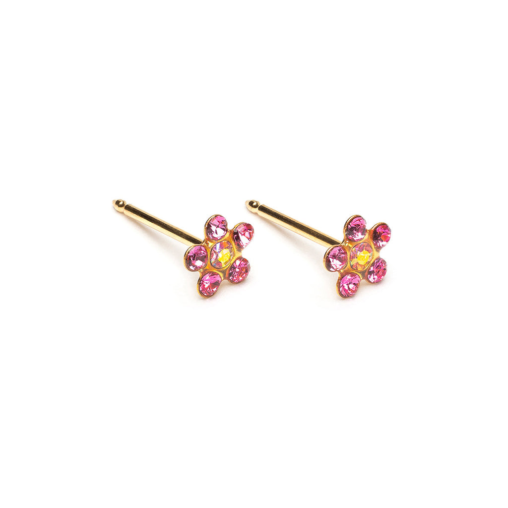 14 K Gold Aurora Borealis And Pink Daisy Stud Earrings - Simply Whispers