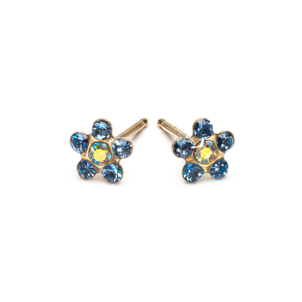 Gold Stud Earrings Sapphire & Aurora Borealis Daisy - Simply Whispers