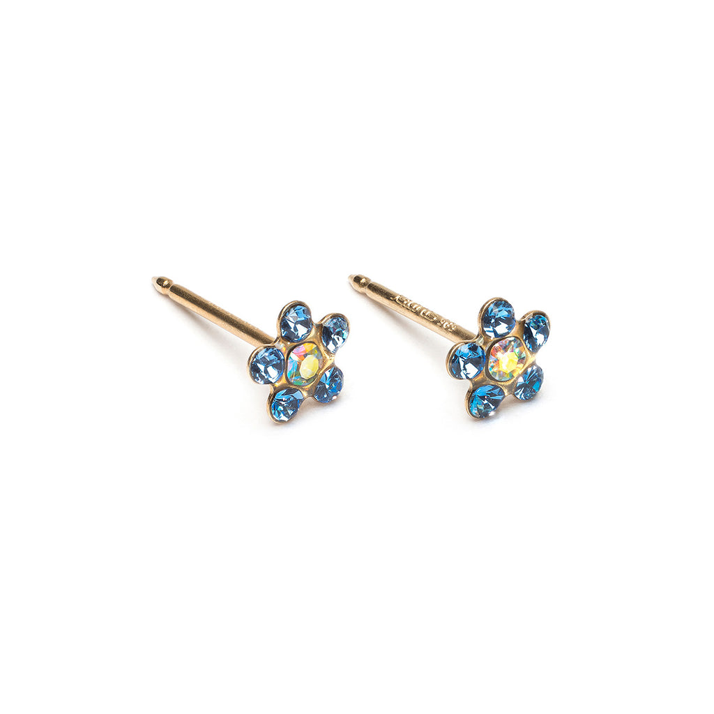 14k Gold Sapphire & Aurora Borealis Daisy Stud Earrings - Simply Whispers