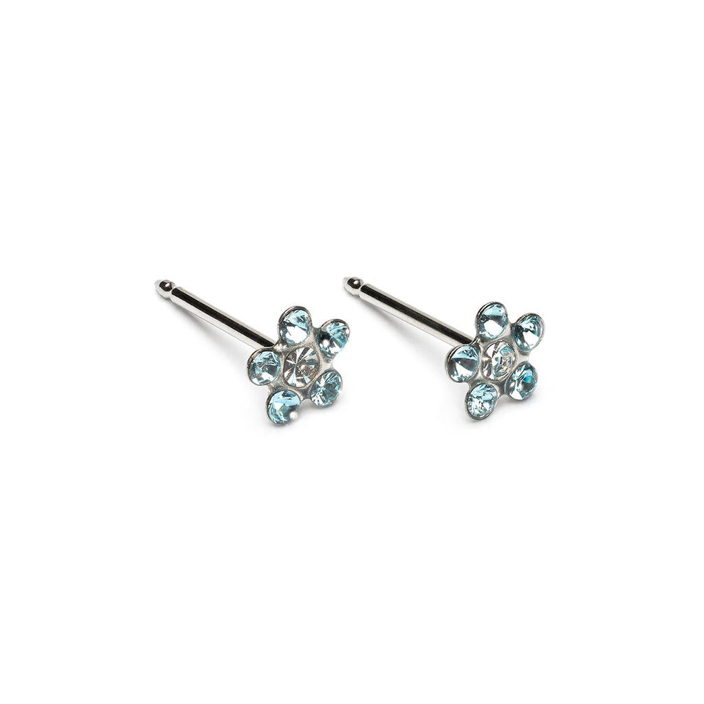 14 K White Gold Aquamarine And Crystal Daisy Stud Earrings - Simply Whispers