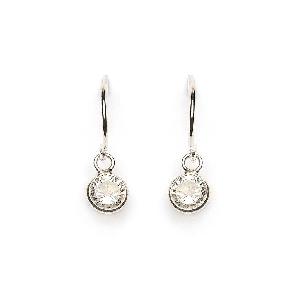 Sterling Silver 5.5 mm Cubic Zirconia French Hook Earrings - Simply Whispers