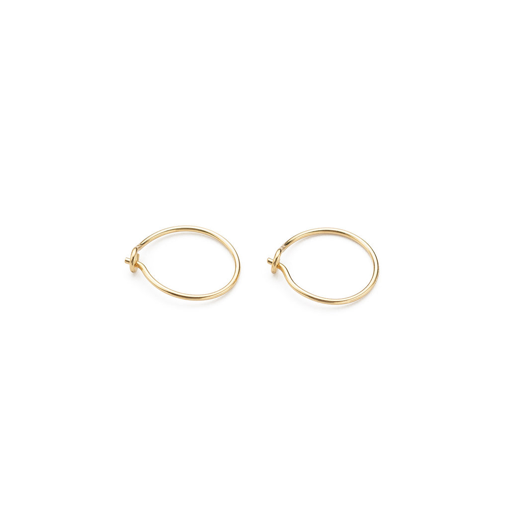 14 K Gold 10 mm Hoop Earrings - Simply Whispers