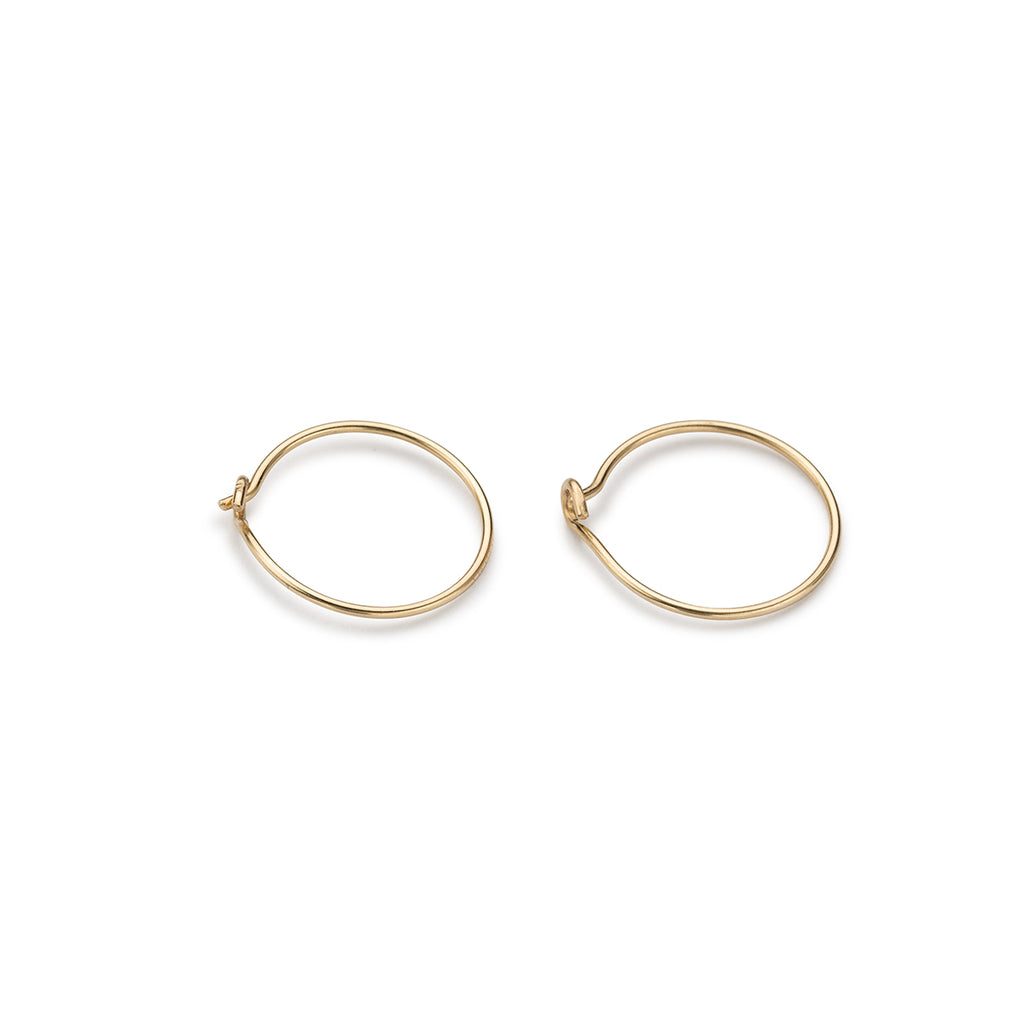 14 K Gold 12 mm Hoop Earrings - Simply Whispers