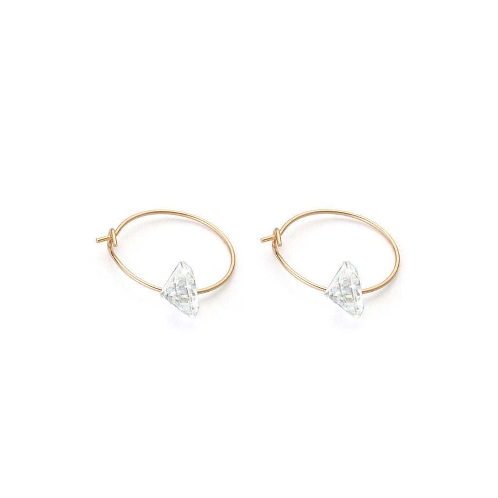 14 K Gold Cubic Zirconia 12 mm Hoop Earrings - Simply Whispers