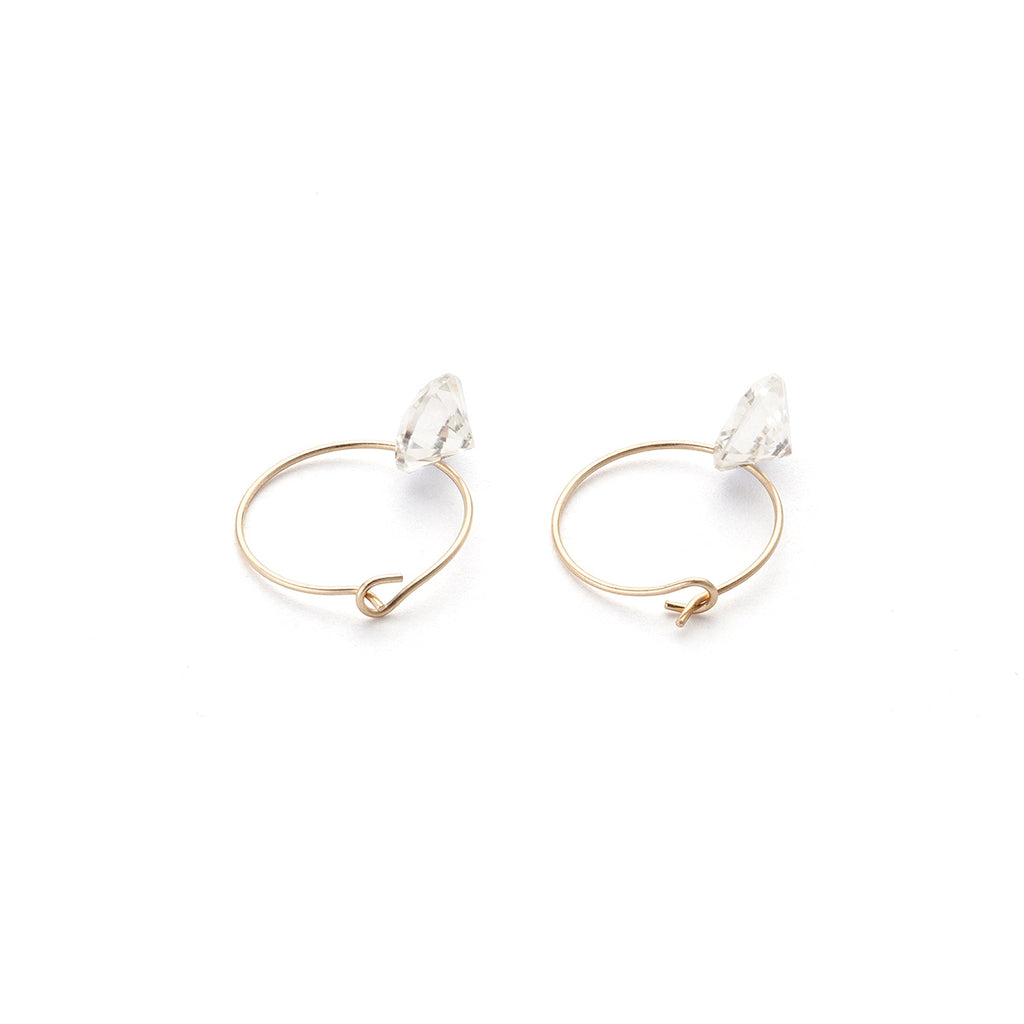 14k Gold Cubic Zirconia 12 mm Hoop Earrings - Simply Whispers