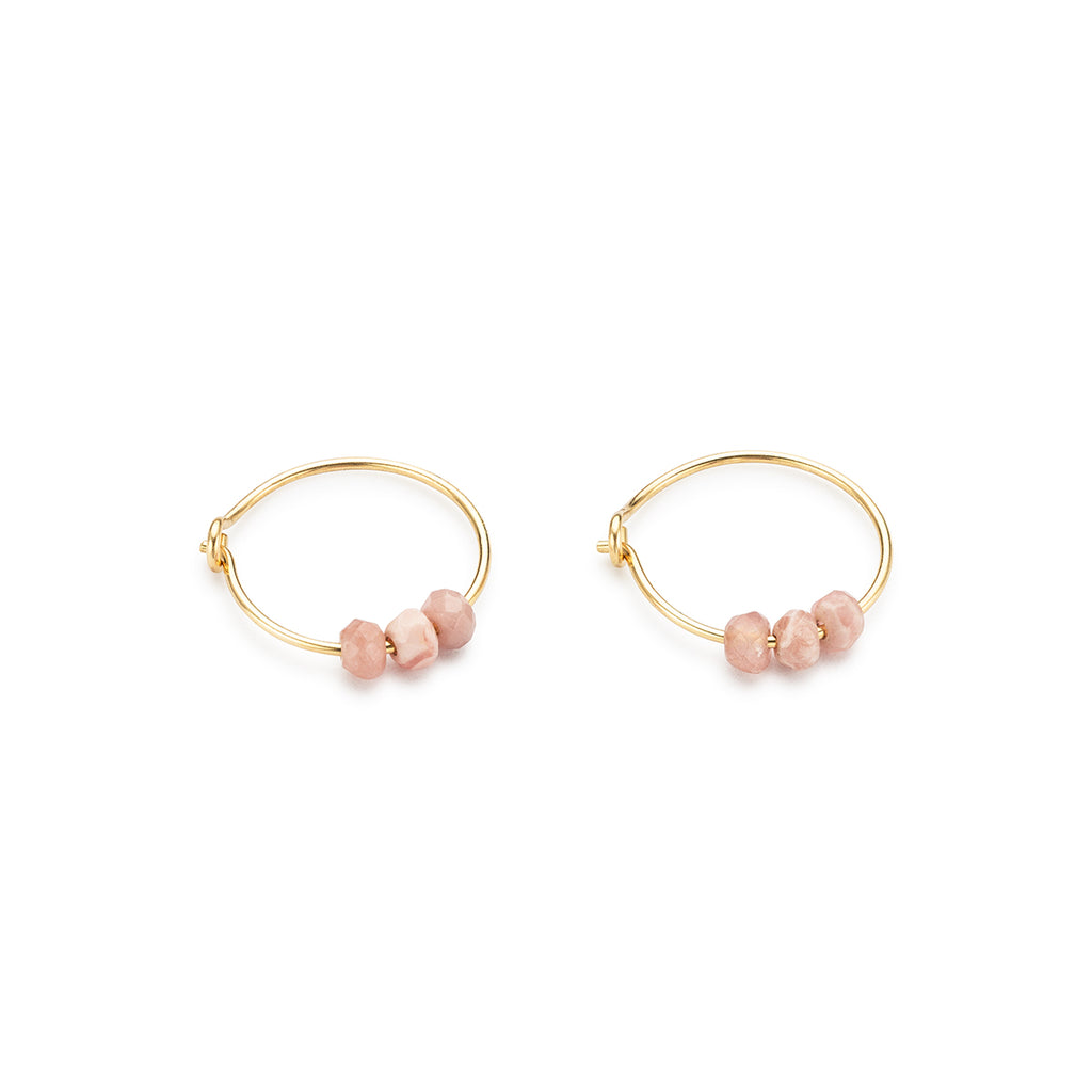 Gold Hoop Earrings Rhodochrosite Charm - Simply Whispers