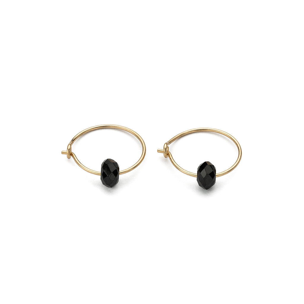 14 K Gold Black Spinel Charm 12 mm Hoop Earrings - Simply Whispers